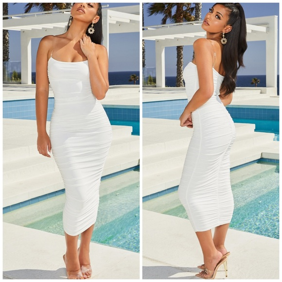 Oh Polly Dresses & Skirts - Oh Polly white ruched mesh midi bodycon dress